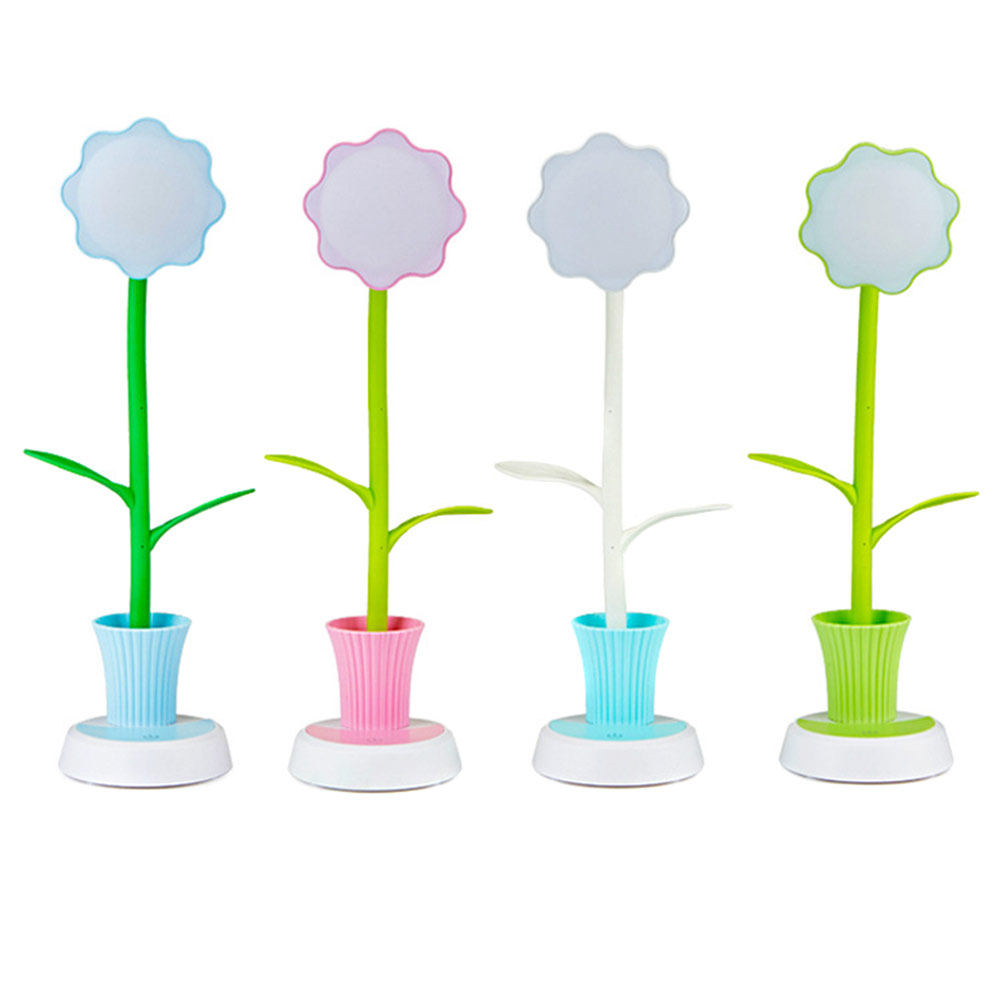 2 In 1 USB Chargeable LED Sun Flower Desk Lamps With Pen Holder,Children Reading/Leaning Gift Energy Saving Lights ...