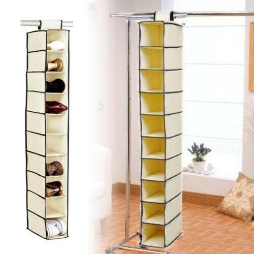 10 Pockets Closet Organizer Wardrobe Storage Cabinet Hanging Clothes Closet Organizer Storage Fabric Shoe Storage Rack Shelf