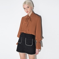 Elegant 2018 Woman Chiffon Blouse Long Lantern Sleeve Bow Tie Casual Loose Femme Ladies Cardigan Tops