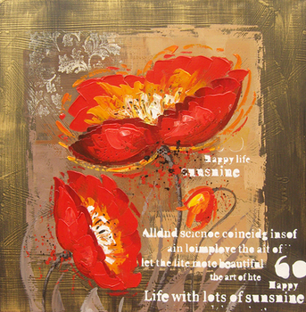 Oil paintings on canvas red white home decoration Modern abstract flower Oil Painting wall art Free shipping