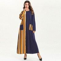 48a65ed9e1b985 ... Vrouwen Moslim Jurk O Hals Lange Mouw Patchwork Gestreepte Dunne  Islamitische Losse Kimono Abaya met Zakken. US  31.79 US  23.21. 2019 Casual  Women ...