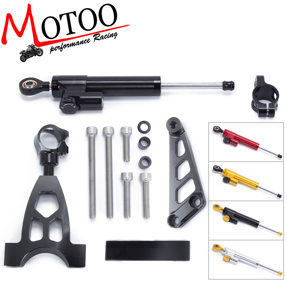 Motoo -FREE SHIPPING For Honda CB400 VTEC 1999-2010 Motorcycle Aluminium Steering Stabilizer Damper Mounting Bracket Kit