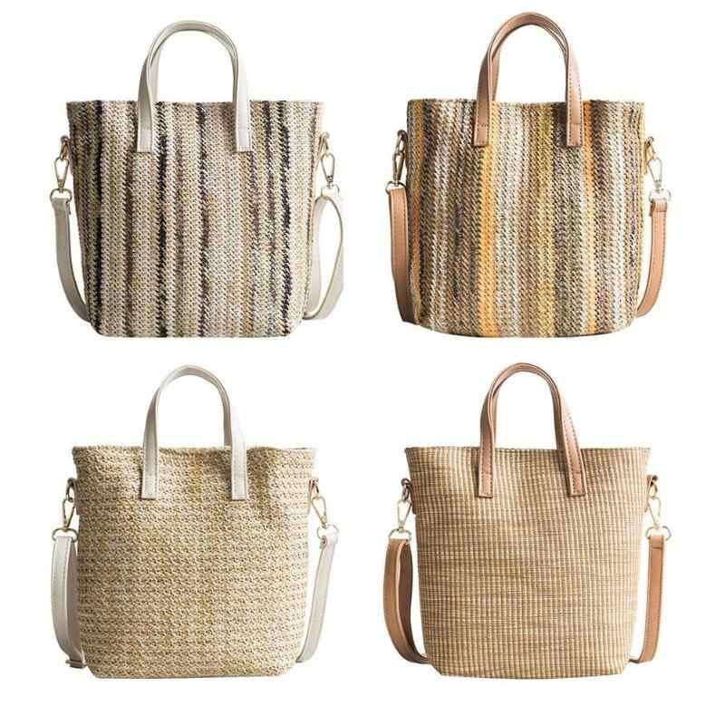 af51bfa9d5f1 Летние Для женщин прочный ткань пляжные сумки соломенные женственный белье Тканые  Сумка-мешок Повседневное Tote
