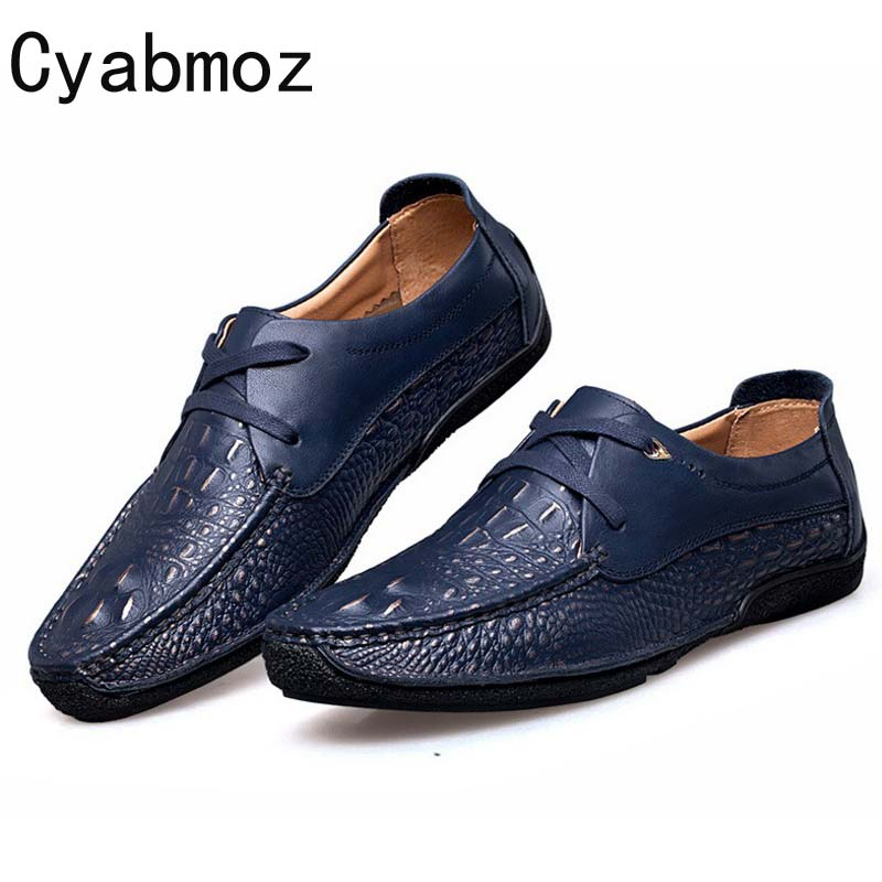 Cyabmoz Brand Men Genuine Leather Shoes Vintage Crocodile Pattern Casual Zapatos Male Walking Shoe Fashion Flats Lace-up Oxfords cyabmoz brand new breathable vintage crocodile pattern genuine leather moccasins men casual shoes loafers flats slip on zapatos