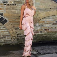 Tobinoone New Autumn Tassel Bodycon Long Sexy Women Jumpsuit 2018 Elegant Backless V Neck Rompers Womens Plus Size Jumpsuits