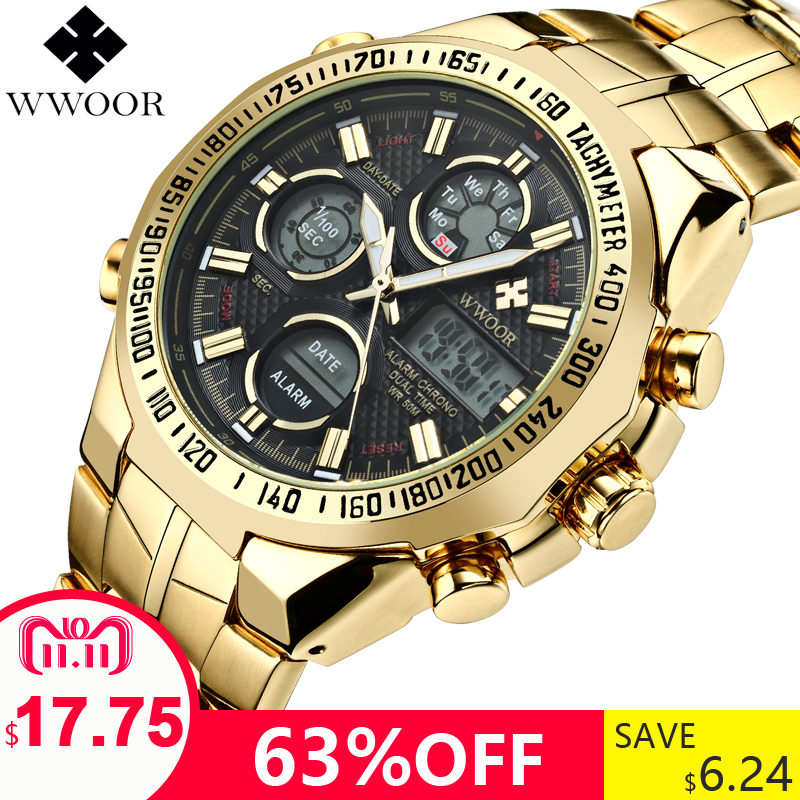 Mens Watches Top Brand Luxury Quartz Analog LED Digital Sports Watch Men Gold Military Wrist Watch Male Clock Relogio Masculino top brand 2017 new mens sports clock watch retro design leather band analog alloy quartz wrist watches relogio masculino