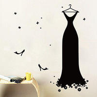 Clothes Shop Vinyl Wall Decal Fashion Dress Wedding Veil Mural Art Wall Sticker Lady Clothing Store Window Glass Home Decoration