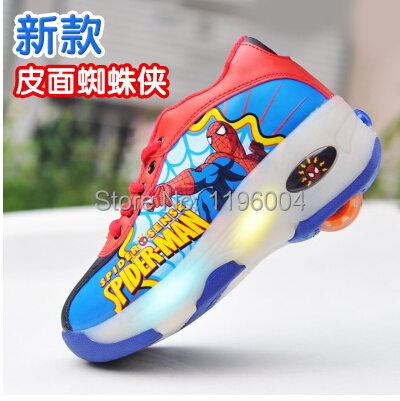 the best attitude f3ae3 57dc5 Hot heelys roller shoes children sneakers spiderman shoes Fashion flashing  roller shoes SpongeBob SquarePants Free shipping 103
