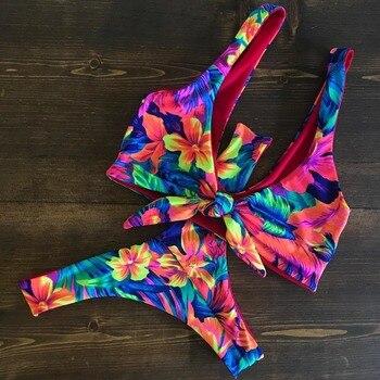 56c10b4198fce 2019 Seksi Yüksek Boyun Bikini Mayo Kadın Mayo Banyo Suits Push Up Plaj  Giyim Brezilyalı Bikini seti Maillot de bain femme