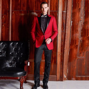 Custom Made Red Men Suit for Wedding Man Blazer Groom Tuxedo 2Piece Costume Homme Black Peaked Lapel Slim Fit Terno Masculino