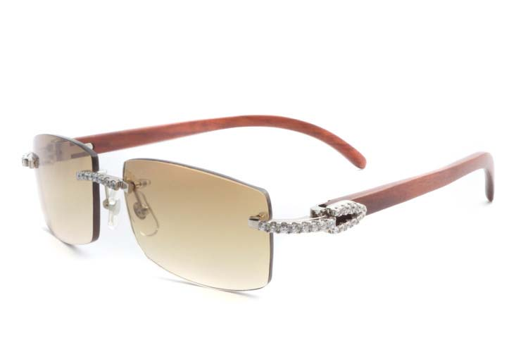 Cartier 3524012 New Diamond Wood Sunglasses Silver (1)