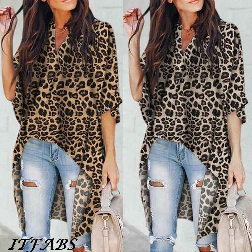 Nieuwe Mode Vrouwen Zomer Half Flare Mouw V-hals Lange Tee Lady Losse Casual Luipaard Patroon Tops T-shirt