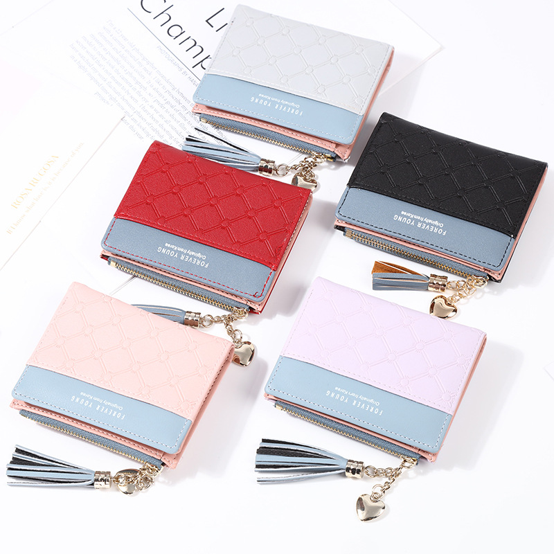 New Tassel Small Wallet Purse Women Wallet Leather Luxury Brand Famous Mini PU Wallets Female Short Coin Zipper Purse Clutch in Coin Purses from Luggage Bags