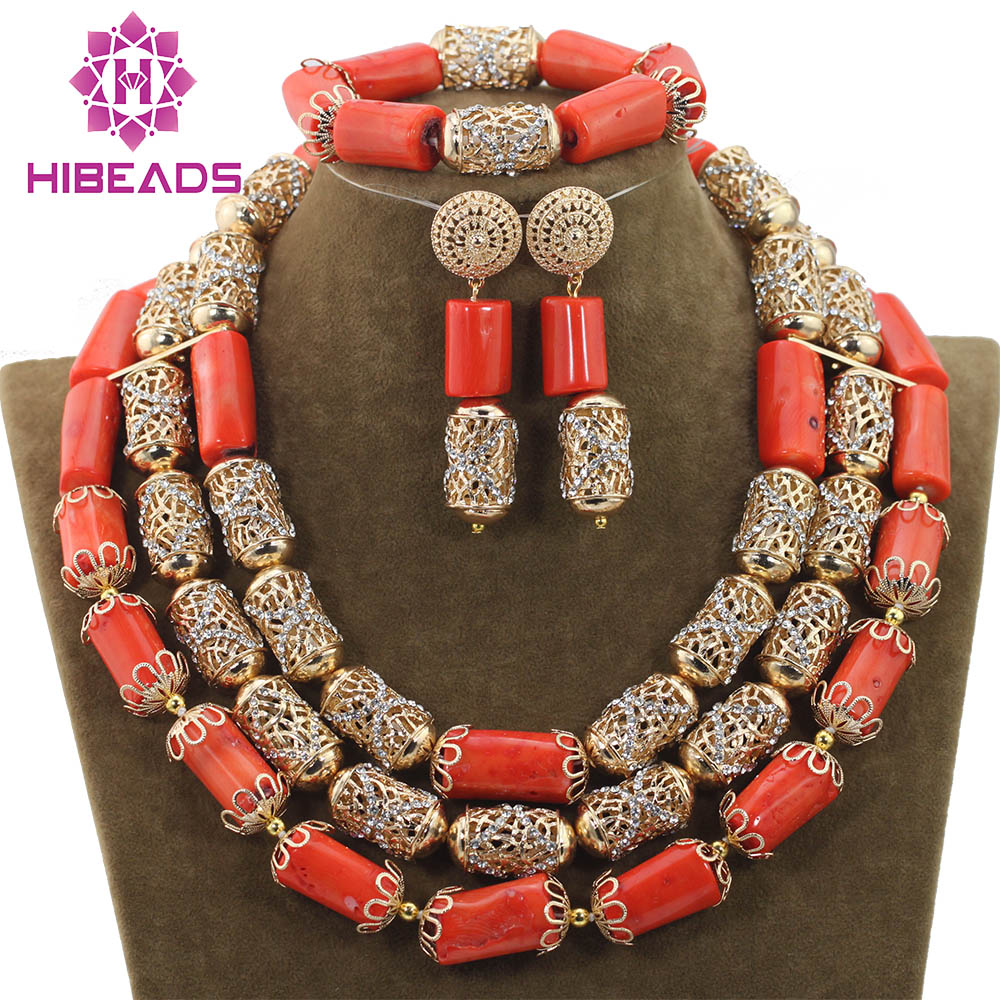 Dubai Statement Necklace Set Wedding Coral Beads Jewelry Sets for African Women Bridal Indian Free ShippingABH150 hot red statement choker necklace african wedding beads for women set dubai costume bridal lace jewelry set free shipping abf550