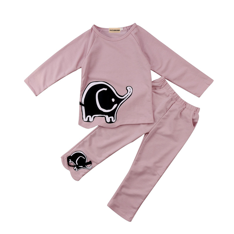 Cotton Tops Pullover Elephant Long Pants Clothes Outfits Set 2-7T Toddler Girls Autumn Winter Cotton Clothes SAet ...