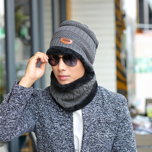 b308d7a4084fd 2016 New Fashion 6Colors Men Winter Warm Beanies Cap Wool Knitted Hat Scarf  Women Outdoor Snow