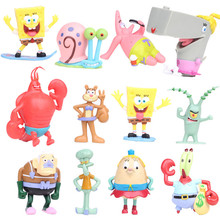 лучшая цена NEW hot 7-8cm 12pcs/set SpongeBob Pants collectors action figure toys Christmas gift doll