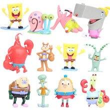 NEW hot 7-8cm 12pcs/set SpongeBob Pants collectors action figure toys Christmas gift doll