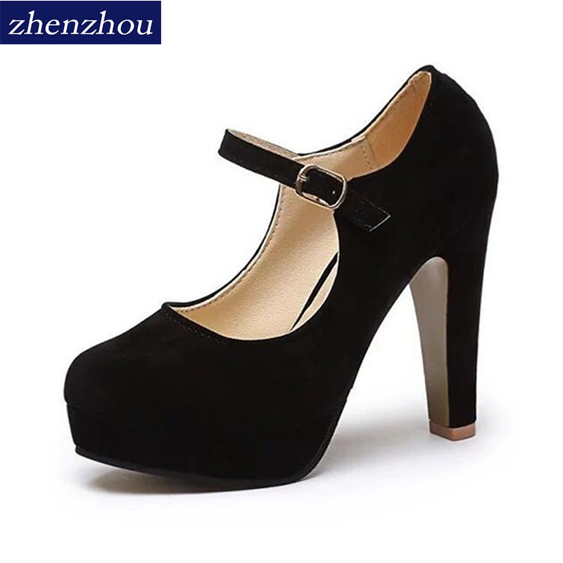 ZHENZHOU Free shipping woman Pumps 2018 Women 's shoes summer the new sexy high heels rounded suede comfortable work shoes 12cm