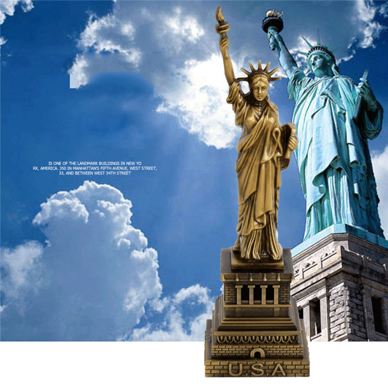 Creative Bronze Américain USA New York la Statue de Liberté Réplique Modèle Métal Livraison Déesse Figurines Bureau Table Décorations