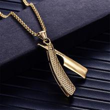 Ожерелье в стиле панк бритвенное золотистая цепочка из нержавеющей