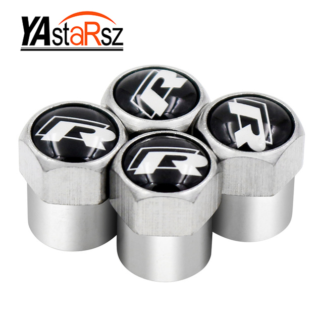 4pcs SR R Car Wheel Tire Valve Caps Covers For Volkswagen Sagitar Passat Tiguan Lamando Golf CC Lavida Jetta Touareg Touran GTI waterproof rubber hk right hand steering wheel car floor mats for volkswagengolf 5 6 scirocco with gti tsi r r golf logo