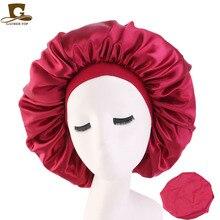 New Women Elastic Headband Big Size Beauty print Satin Silk Bonnet Sleep Night CapWomen Cosmetic Salon Hat