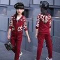 Children's clothing female child spring sports set  2pcs 2017 trousers long-sleeve sweatshirt child autumn twinset 4-14Y