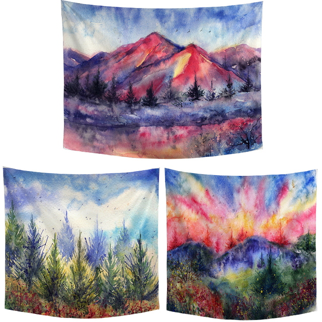 Watercolor Landscape Painting Hanging Blanket Trees Lake Sunset Design Dormitory Headboard Beach Towel Picnic Mat Decor Tapestry