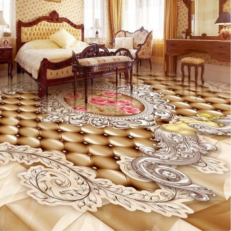 Us 17 7 41 Off Beibehang Large Custom Flooring High Definition European Lattice Angel Rose Bathroom 3d Tiles Decorative Painting Living Room In