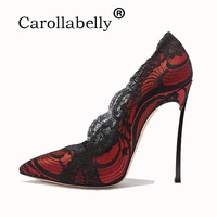 Carollabelly Shoes Woman High Heels Pumps Lace High Heels Women Shoes High Heels Wedding Shoes Pumps Red Nude Shoes Heels