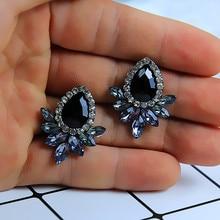 New Womens Fashion Crystal  Earrings Rhinestone RED / Pink Glass Black Resin Sweet Metal Leaf Ear For Girl e0139