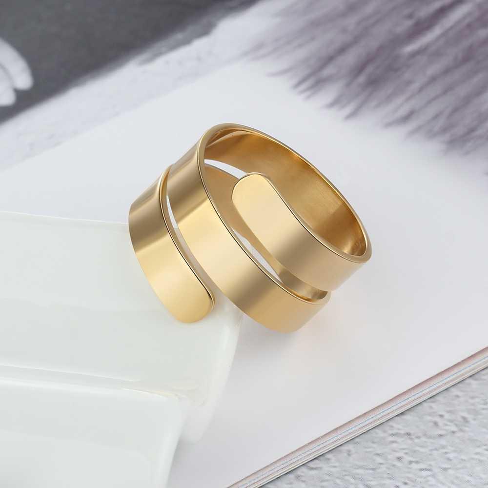 ส่วนบุคคลแหวนผู้หญิง 2 สีชื่อแกะสลัก DIY แหวนแฟชั่นเครื่องประดับงานแต่งงานของขวัญวันเกิดสำหรับแม่ (RI103745)