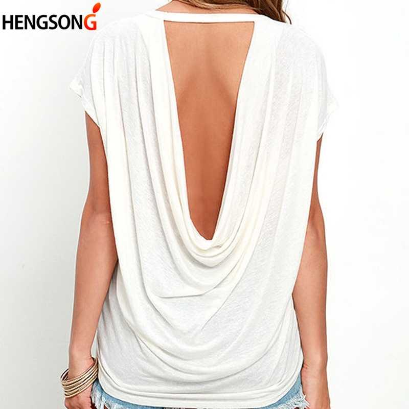 New Fashion Open Back T Shirt Women Casual Short Sleeve TShirt Summer Women Clothing Loose Backless O-neck Tops Tees