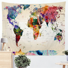 Watercolor Wall Tapestry World Map Abstract Wall Hanging Tapestry Mandala Art Wall Cloth Tapestries Wall Carpet Rugs Beach Towel