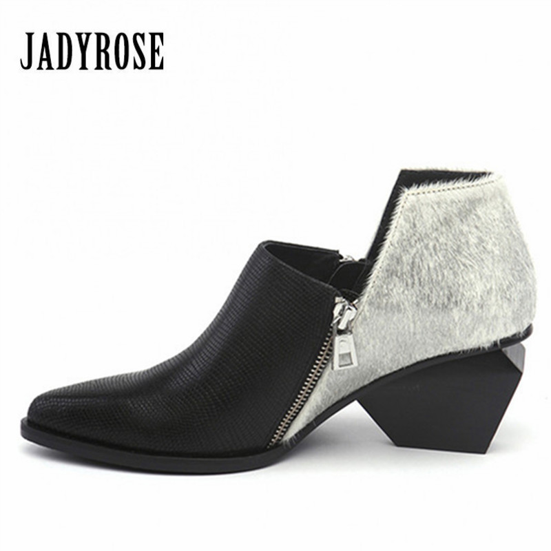 Jady Rose Double Zipper Women Ankle Boots Genuine Leather High Heel Pointed Toe Botas Mujer Female