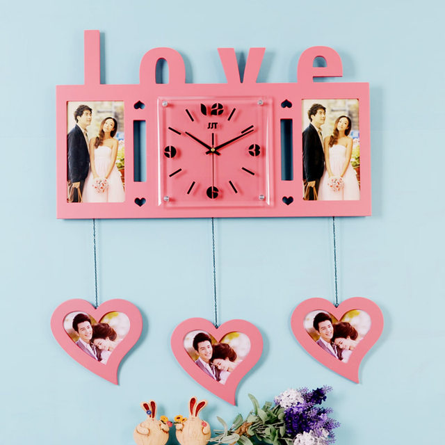 Online Shop Luminousness Large love wooden photo frame wall clock ...