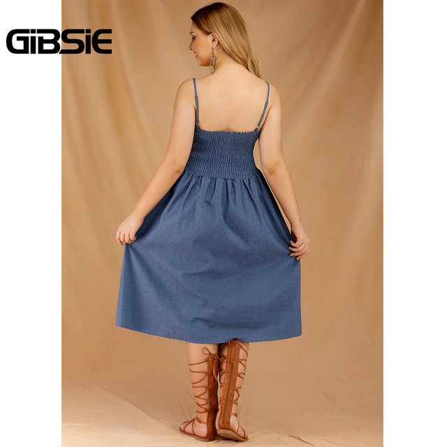 GIBSIE Plus Size Women's Denim Spaghetti Strap Dresses 2019 Summer Casual High Waist Big Hem Sleeveless Midi Dress Vestidos 2