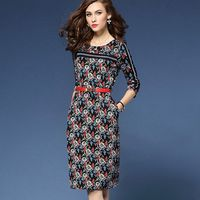 New Autumn 2016 Europe And America Style Women S Clothing Collect Waist Show Slim Printed Dress