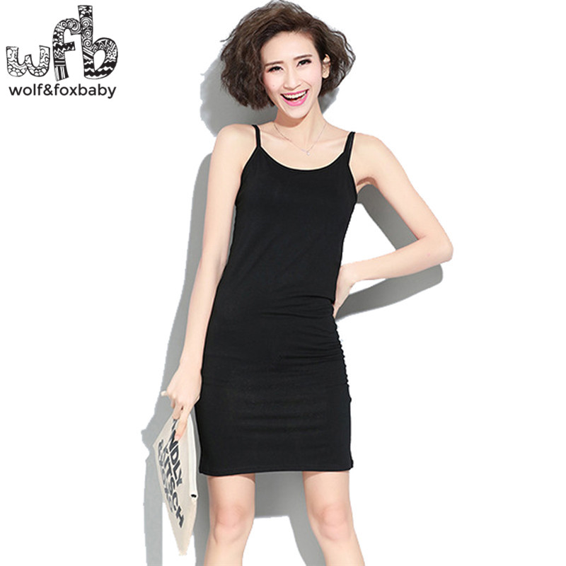 Pregnant women Large size high Stretch vest dress pure color Sling skirt summer free size