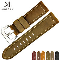 MAIKES Good Quality Watchbands 22mm 24mm 26mm Watch Strap Genuine Leather Watch Band Vintage Watch Belt