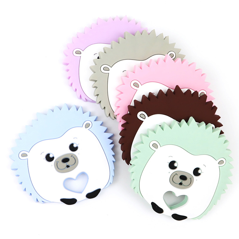 Baby Silicone Teethers DIY Cartoon Animal Hedgehog Ring Teether BPA Free Infant Baby Silicone Chew Charms Toddle Teething Toys