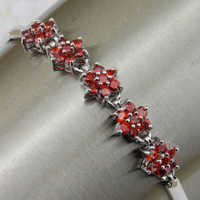 Magic Stylish Nice Red Garnet Bracelet Platinum Plated Jewelry Gift For Women BB014D