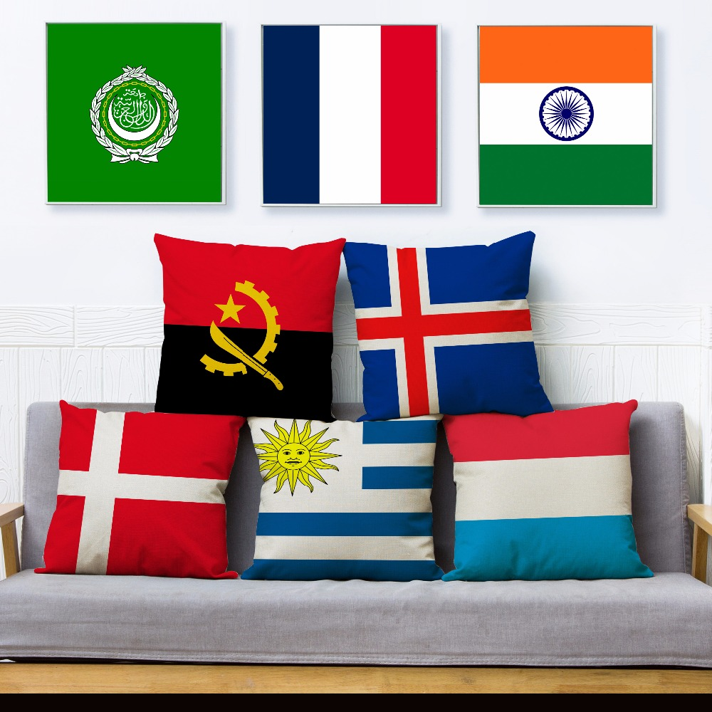 World National Flag Print Throw Pillow Cover 45*45cm Square Cushion Covers Linen Pillow Case Car Sofa Home Decor Pillows Cases