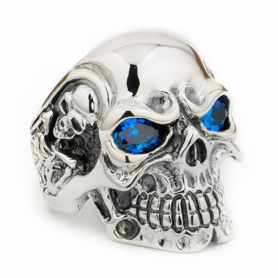 USA Located 925 Sterling Silver Blue CZ Eyes Titan Skull Mens Biker Punk Ring 8V305 4PXUSA Located 925 Sterling Silver Blue CZ Eyes Titan Skull Mens Biker Punk Ring 8V305 4PX