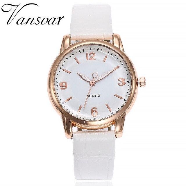 Vansvar Women Bamboo Grain Wristwatches Luxury Fashion Casual Quartz Leather Str