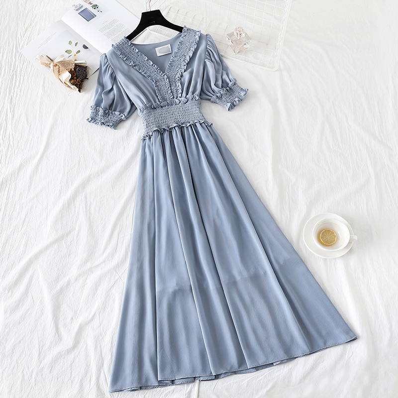 <font><b>6</b></font> colors 2019 new women's chiffon <font><b>dress</b></font> Solid color V-neck <font><b>dress</b></font> spring and summer ruffled short-sleeved <font><b>dress</b></font> large size S-<font><b>XL</b></font> image