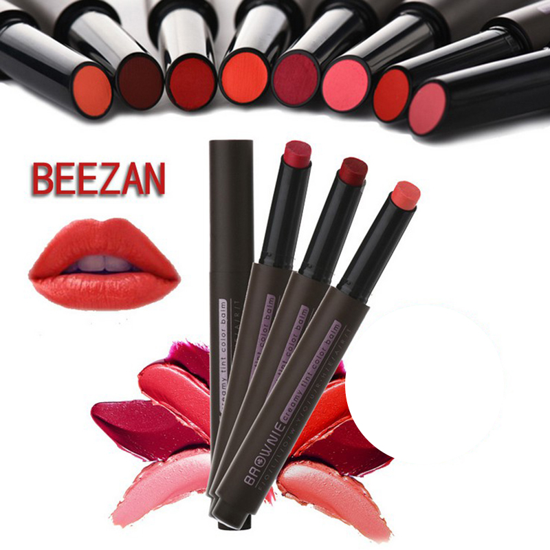 29635655191ef US $2.24 32% OFF|8 Colors Push Button Press Lipstick Beauty Pop Velvet  Matte Lipstick Cosmetic Batom Creamy Tint Color Balm Makeup By Nanda  Brand-in ...