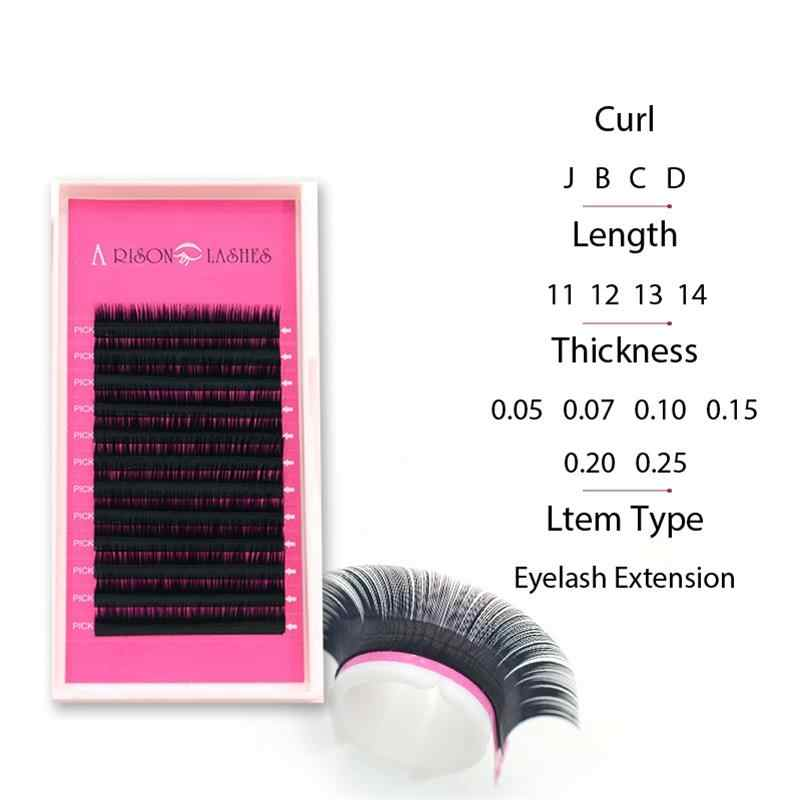Arison 12Rows Faux mink individual eyelash extension cilia lashes extension for professionals soft false mink eyelash extension