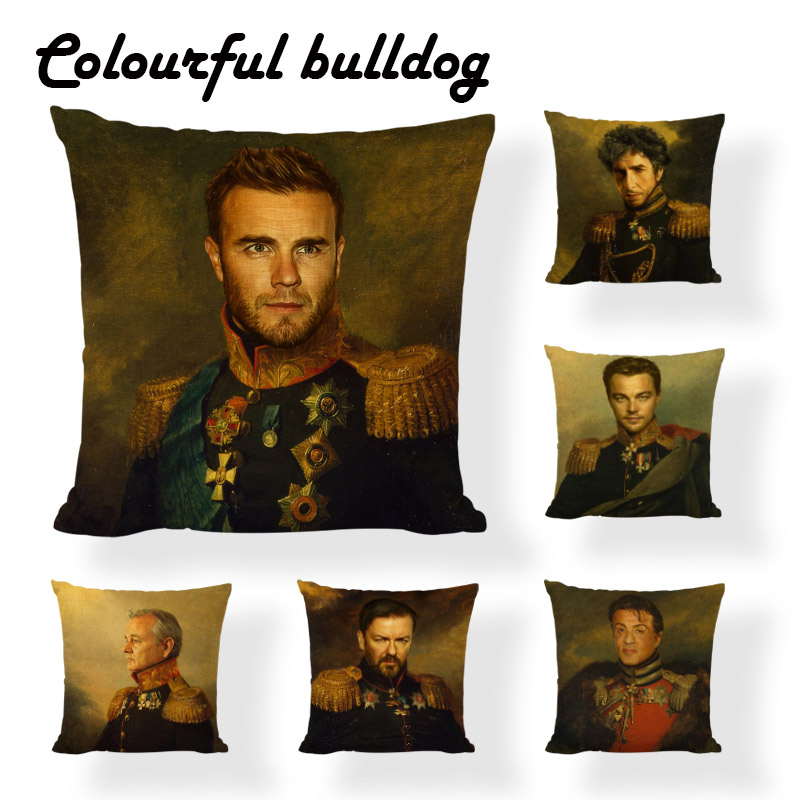 Designer Retro Royal Oil Painting Cushion Cover Boho Metallic Gold Medal 45X45Cm Linen Home Office Furniture Throw Pillow Covers